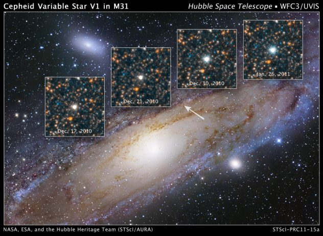 Pozagalaktyczna cefeida na zdjęciu E.Hubble'a w 1923 roku